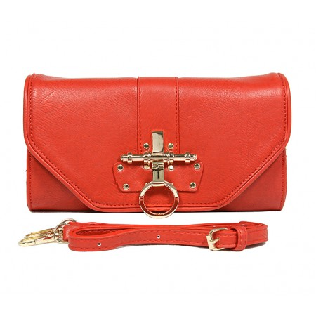 Pebble Leather-like Shoulder Bag Accent w/ Door Latch Flap - Red