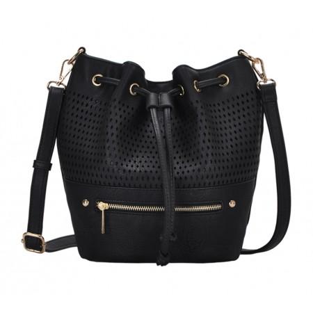 Draw String Bucket Bag w/ Detachable Shoulder Strap - Black