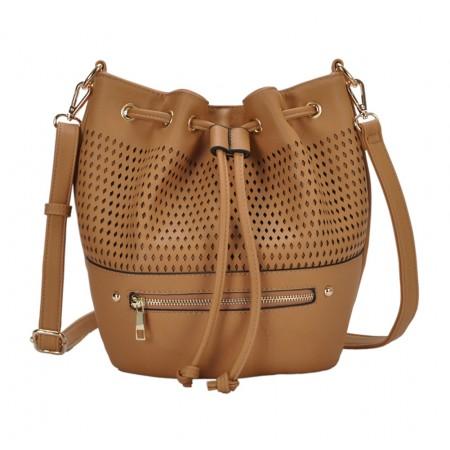 Draw String Bucket Bag w/ Detachable Shoulder Strap - Camel