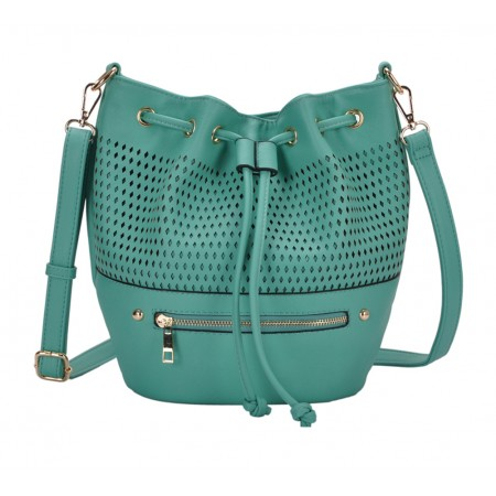 Draw String Bucket Bag w/ Detachable Shoulder Strap - Mint