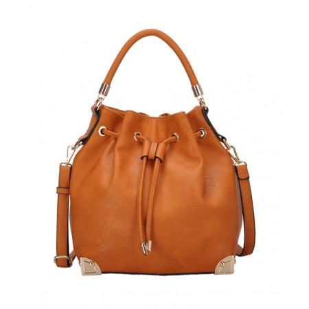 Draw String Bucket Bag w/ Detachable Shoulder Strap - Tan