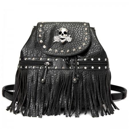 Skull Logo Pebble Leather Shoulder Bag/Back Pack - Black