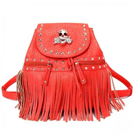 Skull Logo Pebble Leather Shoulder Bag/Back Pack - Red
