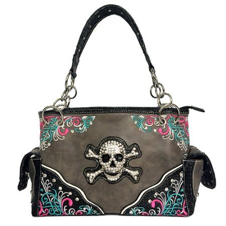 Western Style Tote Bag w/ Rhinestone Stones Skull Charm - Gray