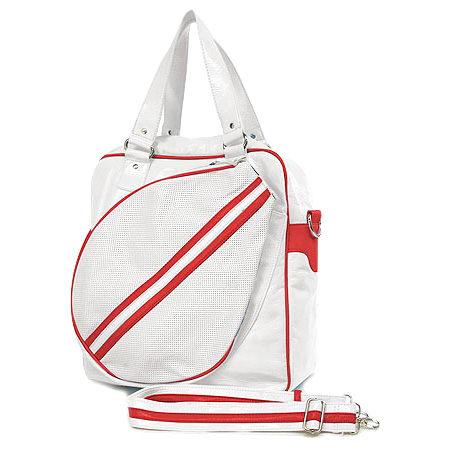 Sport bag w/ Tennis Racket Holder - White - BG-TE001WH