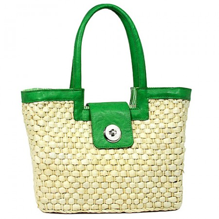 Straw Satchel: Corn Husk w/ Leather-like Trim & Handles - Green -BG-B10015A-GN
