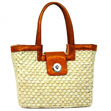 Straw Satchel: Corn Husk w/ Leather-like Trim & Handles - Orange - BG-B10015A-OG