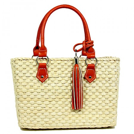 Straw Satchel: Corn Husk Straw w/ PU Leather Handles & Tassel - Orange - BG-B11021OG
