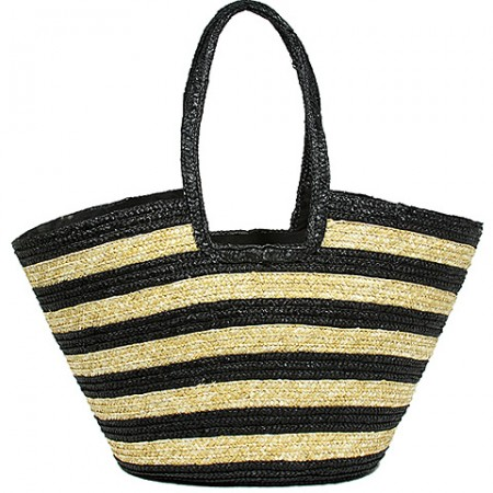 Straw Tote: Striped Woven Wheat Straw Tote - Black - BG-B11047BK