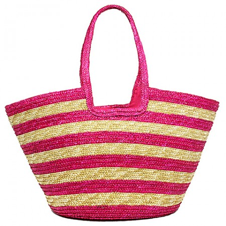 Straw Tote: Striped Woven Wheat Straw Tote - Fuchsiam - BG-B11047FU