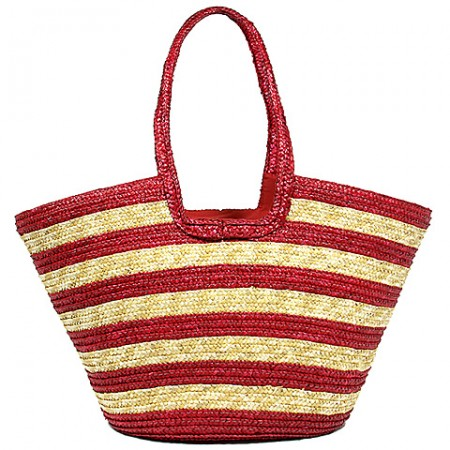 Straw Tote: Striped Woven Wheat Straw Tote - Red - BG-B11047RD