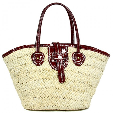 Straw Tote: Corn Husk Straw w/ PU Leather Handles & Flap - Red
