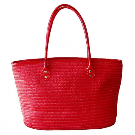 Straw Tote: Paper Straw Tote - Red