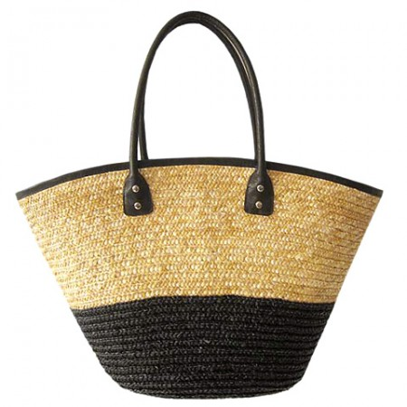 Straw Tote: Woven Wheat 2-tone w/ PU Leather Handles - Black