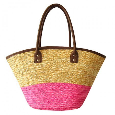 Straw Tote: Woven Wheat 2-tone w/ PU Leather Handles - Pink