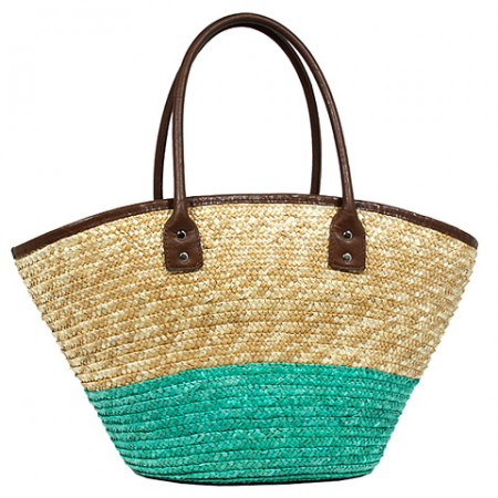 Straw Tote: Woven Wheat 2-tone w/ PU Leather Handles - Turquoise