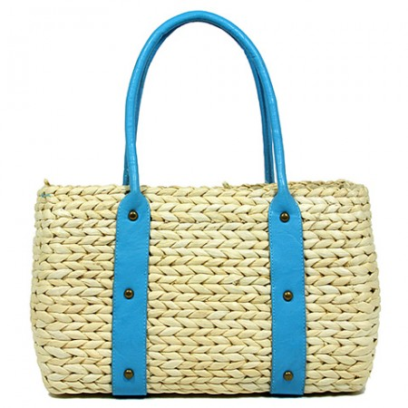 Straw Satchel: Corn Husk Straw w/ PU Leather Handles - Turquoise
