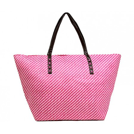 Straw Tote: Metallic Accent Stripes - Silver