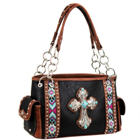 Western Spiritual Collection Handbag - Cross Charm with Aztec Embroidery