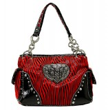 Animal Zebra Print Satchel Bags w/ 3-Heart Charm - Red - BG-112HZ-RD