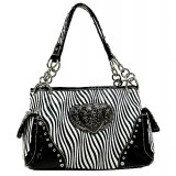 Animal Zebra Print Satchel Bags w/ 3-Heart Charm - White - BG-112HZ-WH