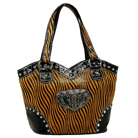 Animal Zebra Print Tote Bags w/ 3-Heart Charm - Brown - BG-127HZ-BR