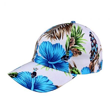 Baseball Cap- Tropical Flower Print – Cotton - Blue