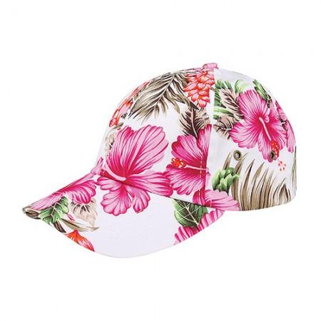 Baseball Cap- Tropical Flower Print – Cotton - Pink