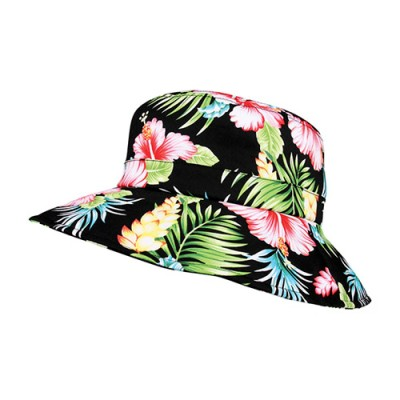 Bucket Hat - Ultra Soft Cotton Floral Print w/ Larger Brim - Black