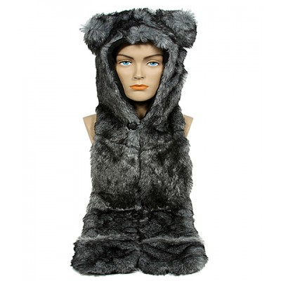 Animal Hat – Faux Fur Hood Scarf w/ Hand Pockets & Inner Cell Phone Pocket - HT-GT1-HSKY1