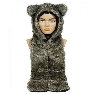 Animal Hat – Faux Fur Hood Scarf w/ Hand Pockets & Inner Cell Phone Pocket - HT-GT1-HSKY3