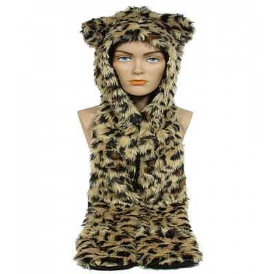 Animal Hat – Faux Fur Hood Scarf w/ Hand Pockets & Inner Cell Phone Pocket