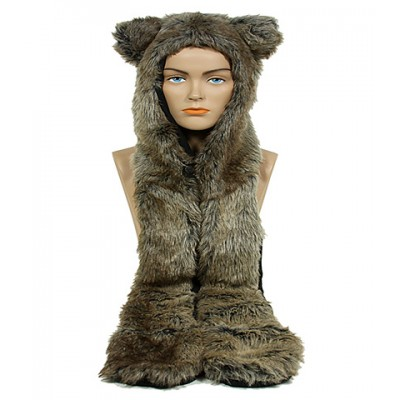 Animal Hat – Faux Fur Hood Scarf w/ Hand Pockets & Inner Cell Phone Pocket - HT-GT1-WOLF1