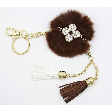 Key Chain - Rabbit Fur w/ Tassels - Brown - KC-AM2066BN