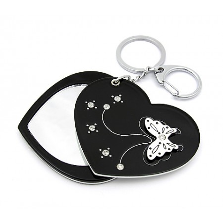 Key Chain - Butterfly Print Sliding Cover w/ Heart Shape Mirror - KC-GK1306