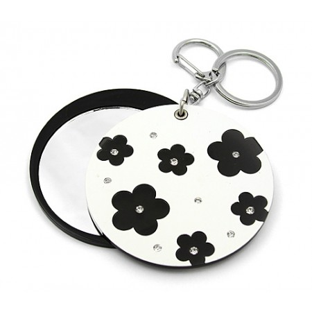 Key Chain - Flower Print Sliding Cover w/ Round Shape Mirror - KC-GK1308