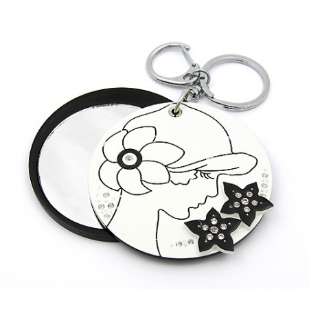 Key Chain - Lady Print Sliding Cover w/ Round Shape Mirror - KC-GK1309