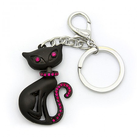 Key Chain - Black Cat w/ Fuchsia Stones -KC-XL1055FU