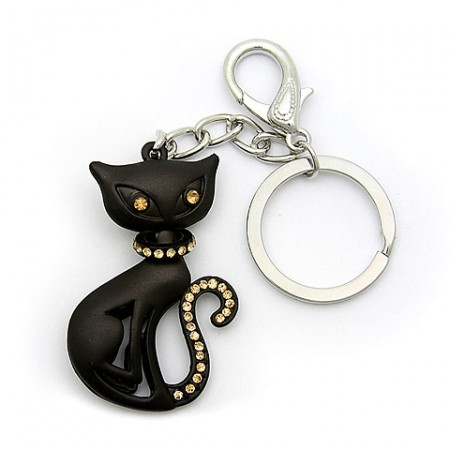 Key Chain - Black Cat w/ Taupe Stones -KC-XL1055TOP