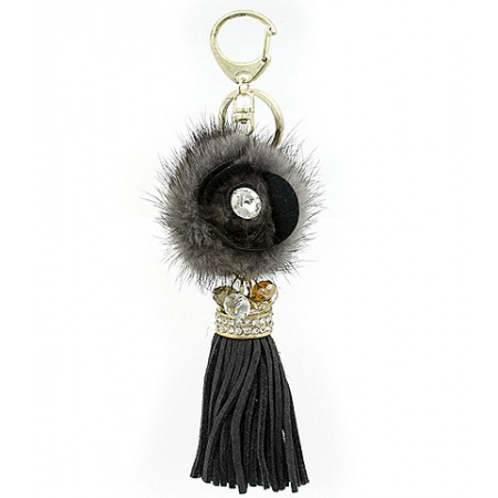 Key Chain - Rabbit Fur w/ Leather Tassels - Gray