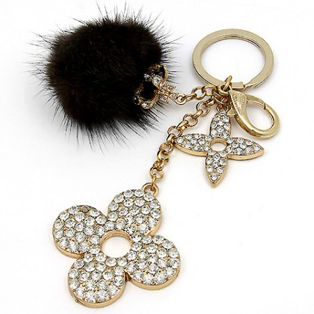 Key Chain - Rabbit Fur w/ Rhinestone Florwers & Crown - Brown -KC-YI5352BN