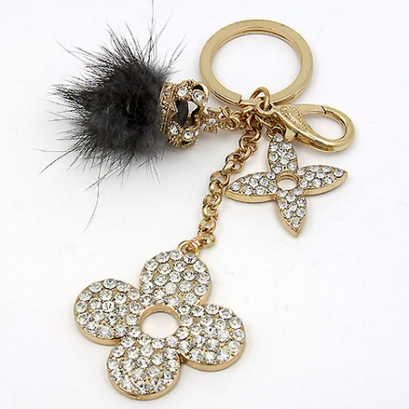 Key Chain - Rabbit Fur w/ Rhinestone Florwers & Crown - Gray -KC-YI5352GY