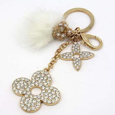 Key Chain - Rabbit Fur w/ Rhinestone Florwers & Crown - White