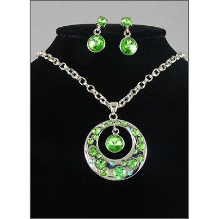 Gift set: Swarovski Crystal Round Charm Necklace & Earring Set - Rhodium Plating - Green