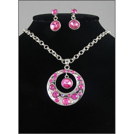Gift set: Swarovski Crystal Round Charm Necklace & Earring Set - Rhodium Plating - Pink