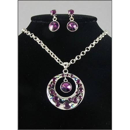 Gift set: Swarovski Crystal Round Charm Necklace & Earring Set - Rhodium Plating - Purple