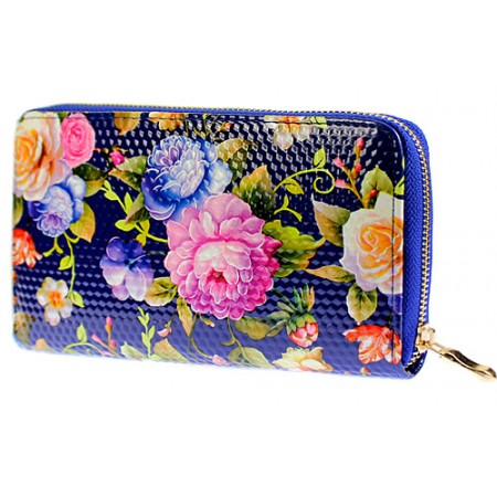 Wallets - Floral Print Zip Around Wallets - Blue