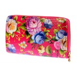 Wallets - Floral Print Zip Around Wallets - Fuchsia