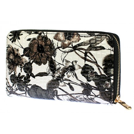 Wallets - Floral Print Zip Around Wallets - Black