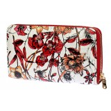 Wallets - Floral Print Zip Around Wallets - Red
